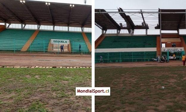 Une pluie torrentielle ravage le Stade Losseni Soumahoro de Séguéla après les obsèques d'Hamed Bakayoko